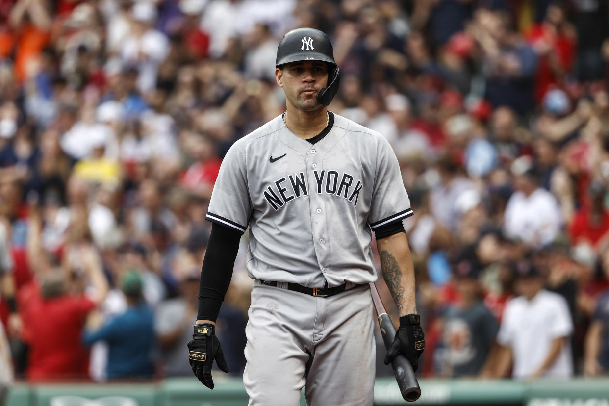 BOSTON, MA - JULY 25: Gary Sanchez #24 of the New York Yankees during the ninth inning against the Boston Red Sox at Fenway Park on July 25, 2021 in Boston, Massachusetts. (Photo By Winslow Townson/Getty Images)