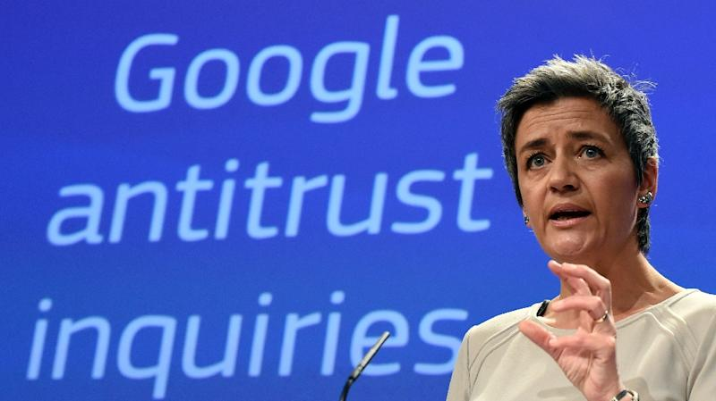 European competition commissioner Margrethe Vestager speaks on April 15, 2015 in Brussels as the EU formally charged Google with abusing its dominant position as Europe's top search engine