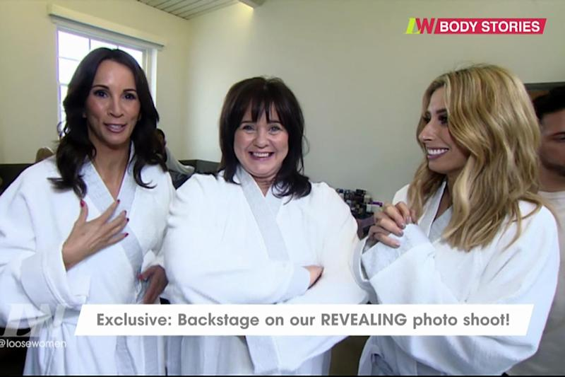 Getting ready: Andrea McLean, Coleen Nolan and Stacey Solomon: ITV