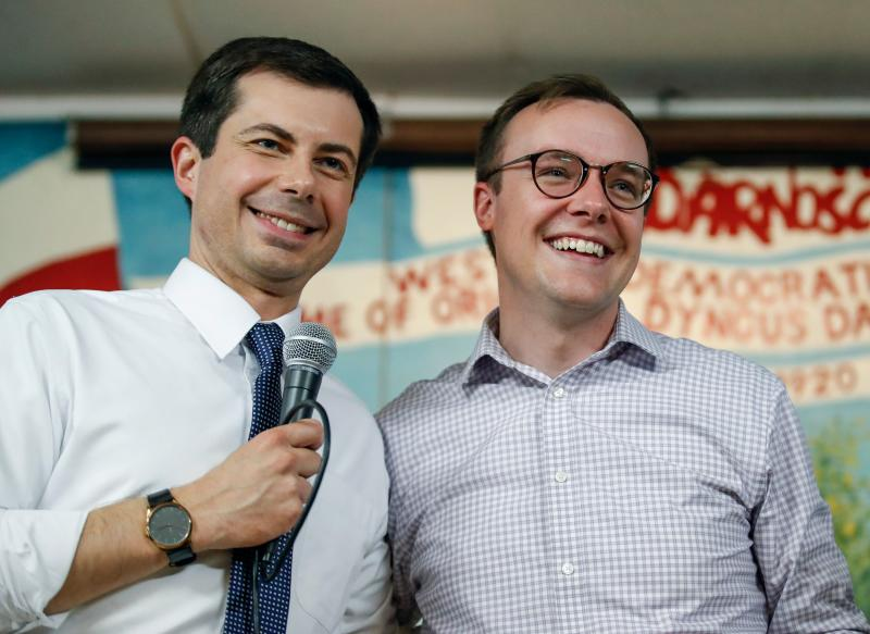 (FILES) In this file photo taken on April 22, 2019, South Bend Mayor and Democratic presidential candidate Pete Buttigieg (L) speaks besides husband Chasten Glezman at the West Side Democratic Club during a Dyngus Day celebration event in South Bend, Indiana. - Buttigieg, the gay, liberal mayor of the small American city of South Bend, in the conservative bastion of Indiana, officially launched his presidential bid on April 14th, joining a crowded field of Democrats vying for their party's nomination in 2020. (Photo by KAMIL KRZACZYNSKI / AFP) (Photo credit should read KAMIL KRZACZYNSKI/AFP/Getty Images)