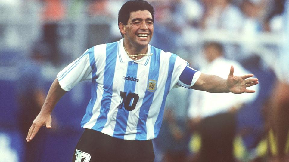 Diego Maradona, pictured here at the FIFA World Cup in 1994.