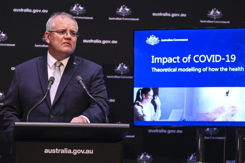 Australian Prime Minister Scott Morrison speaks to the media during a press conference on Tuesday. Source: AAP