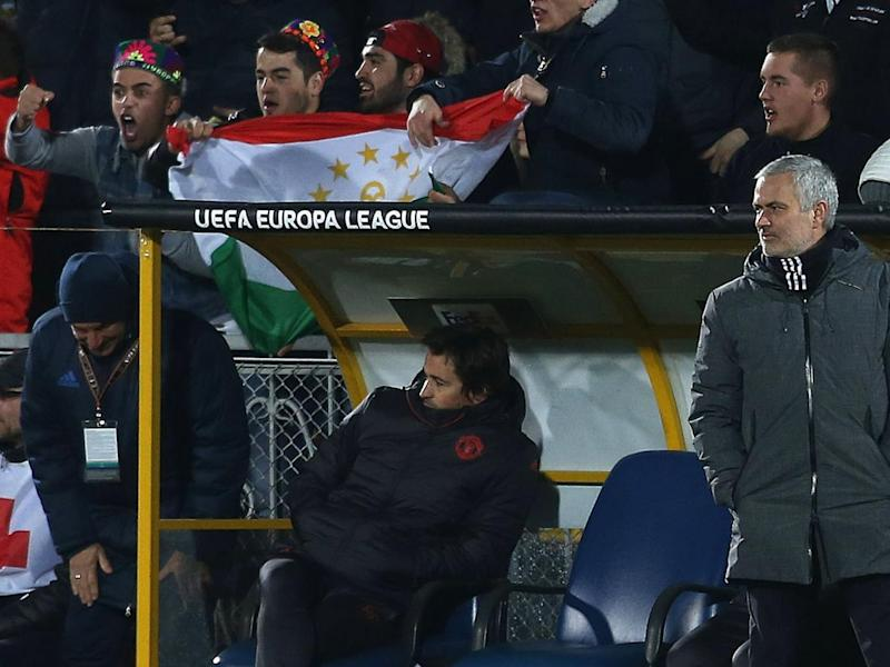 Mourinho watching the first-leg in Russia (Man Utd via Getty)