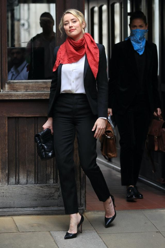 Actress Amber Heard arrives at the High Court in London