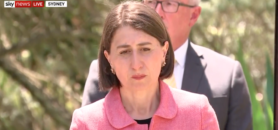 Gladys Berejiklian appears sad during a press conference on October 13.