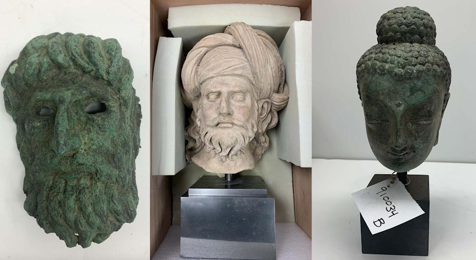 Recovered Afghan artifacts: Mask of Silenus (Greek) - 2nd century AD - valued at $165,000; Head of a Bearded Man (CRATED) - 3rd -4th century AD - valued at $175,000; and, Head of Buddha - 3rd -4th century AD - valued at $167,500. (New York District Attorney's Office[3])