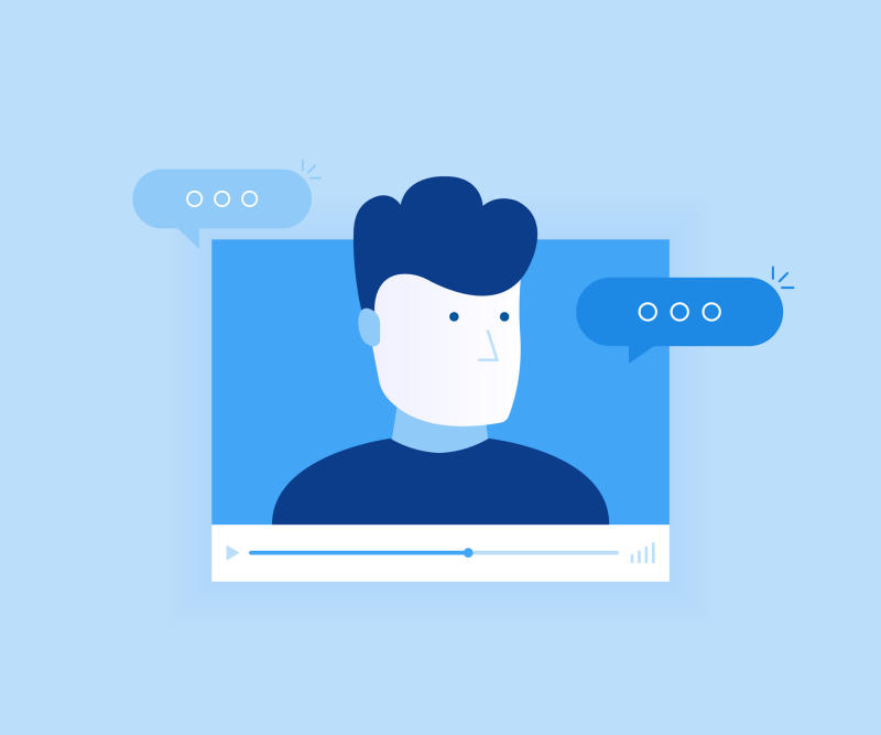 A blue illustration of a person with thought bubbles on a screen.