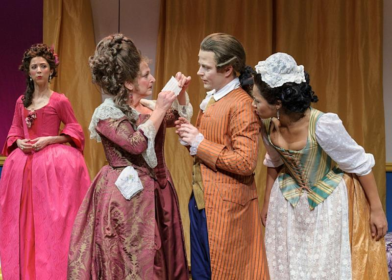 This photo provided by Blake Zidell Associates are, from left, Joey Parsons, Robin Leslie Brown, Sean McNall and Jolly Abraham, in a scene from Charles Morey's comedy, 'Figaro,' currently performing off-Broadway at The Pearl Theatre in New York.  (AP Photo/Blake Zidell Associates, Jacob J Goldberg)