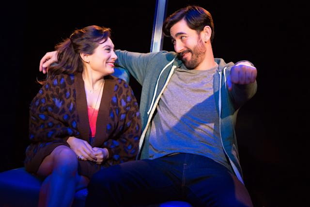 "Max Crumm (right) stars opposite Lucy DeVito in the off-Broadway comedy ""Hot Mess,"" which opened Thursday in New York City. (Jeremy Daniel)"