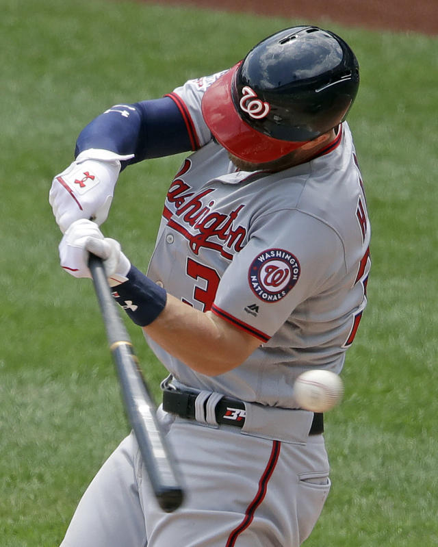Washington Nationals' Bryce Harper strikes out on a pitch from Pittsburgh Pirates starting pitcher Trevor Williams during the fifth inning of a baseball game in Pittsburgh, Wednesday, July 11, 2018. (AP Photo/Gene J. Puskar)