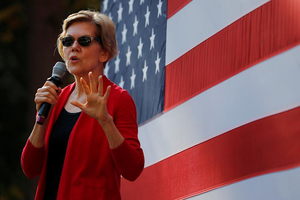 Democratic 2020 U.S. presidential candidate and U.S. Senator Elizabeth Warren (D-MA) speaks at a campaign town hall meeting at Dartmouth College in Hanover, New Hampshire, U.S., October 24, 2019.   REUTERS/Brian Snyder