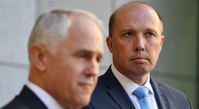 Peter Dutton with Malcolm Turnbull. Photo: AAP