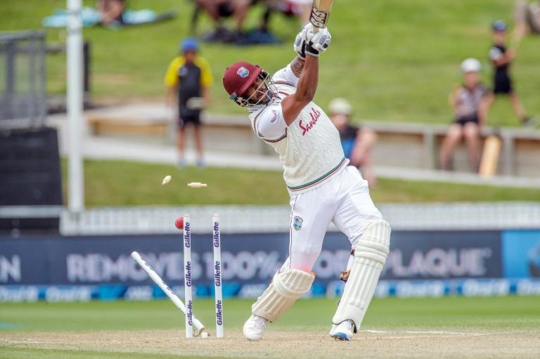 West Indies batsman Shannon Gabriel is clean bowled by New Zealand's paceman Neil Wagner on the fourth day of the first Test cricket match between New Zealand and West Indies at Seddon Park in Hamilton on December 6, 2020.