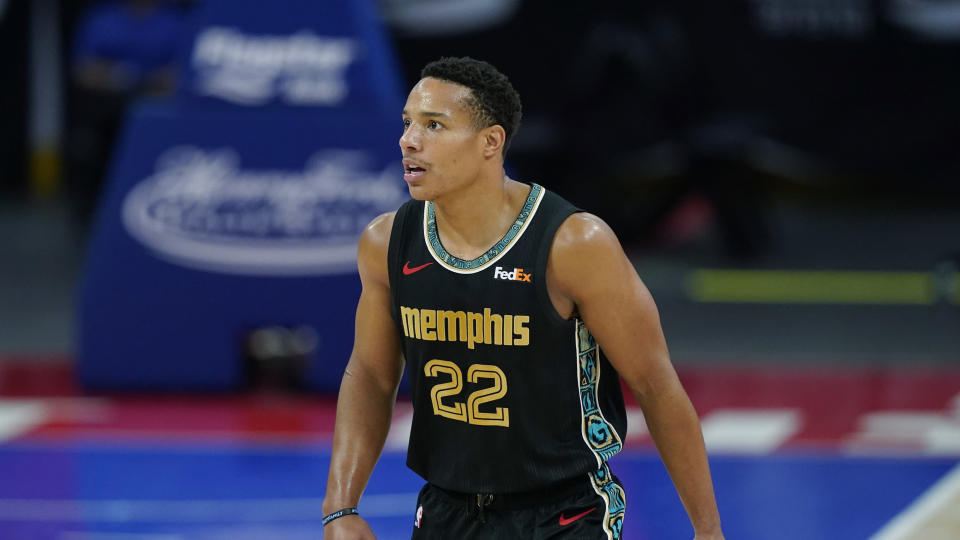 Memphis Grizzlies guard Desmond Bane plays during the second half of an NBA basketball game, Thursday, May 6, 2021, in Detroit.