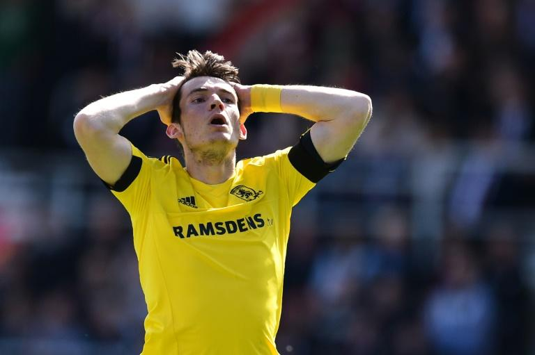 Middlesbrough's Marten de Roon reacts after missing a shot on goal during their English Premier League football match against Bournemouth on April 22, 2017