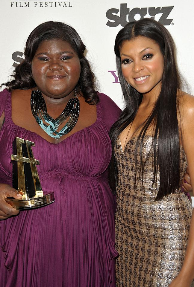 """<a href=""""http://movies.yahoo.com/movie/contributor/1810088328"""">Gabourey Sidibe</a> and <a href=""""http://movies.yahoo.com/movie/contributor/1804514499"""">Taraji P. Henson</a> at the 13th Annual Hollywood Awards Gala held at the Beverly Hilton Hotel - 10/26/2009"""