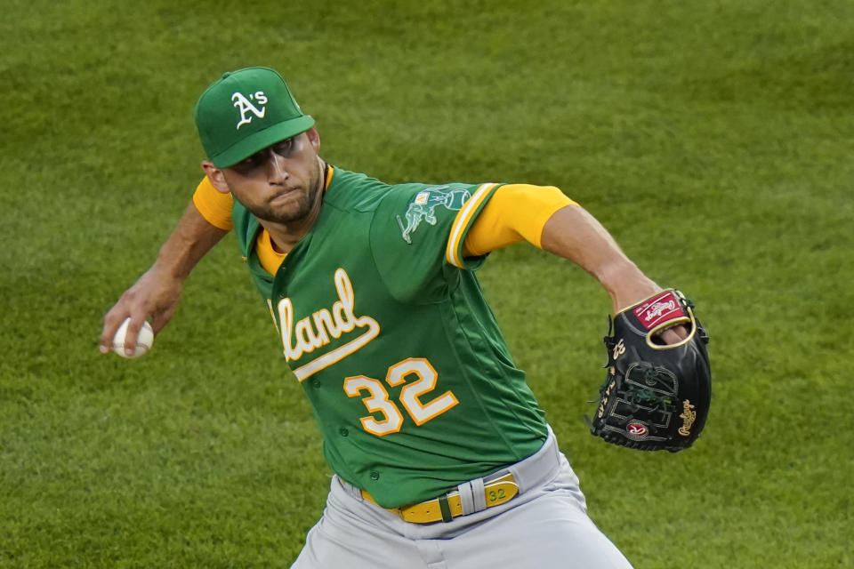 Oakland Athletics' James Kaprielian winds up during the third inning of the team's baseball game against the New York Yankees on Friday, June 18, 2021, in New York. (AP Photo/Frank Franklin II)