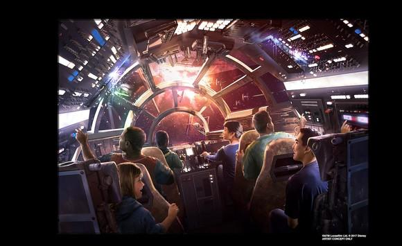 An artist's illustration of the new Star Wars ride Smugglers Run at Star Wars Galaxy's Edge, which opens at Disneyland in summer 2019.