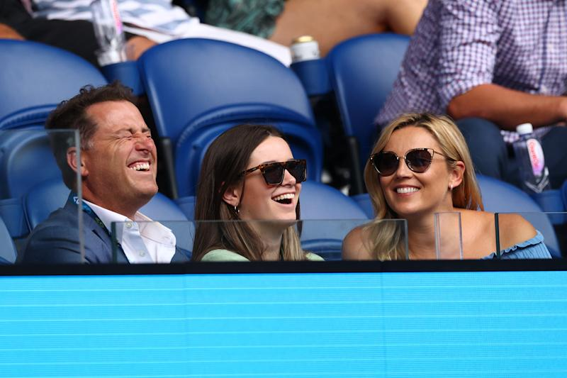 Australian television presenter Karl Stefanovic his daughter Ava and his wife Jasmine Yarbrough attends Rod Laver Arena on day three of the 2020 Australian Open at Melbourne Park on January 22, 2020 in Melbourne, Australia.