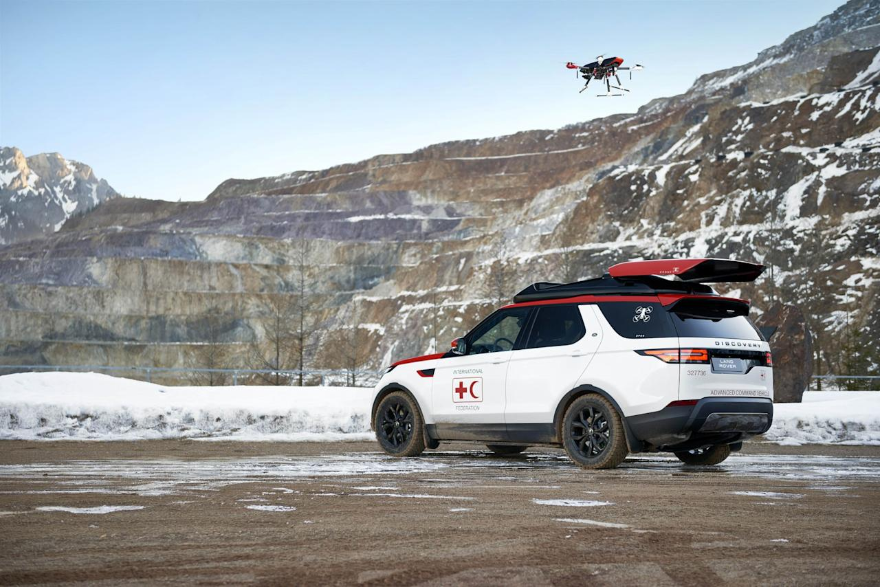 <p>Land Rover has unveiled a unique model for humanitarian use which comes with a drone that takes off and lands while the car is moving. Project Hero is a modified Land Rover Discovery which could save lives by speeding up response times in disaster zones. </p>