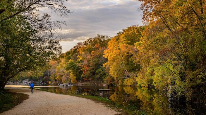 Potomac Maryland, USA - October 22: A sunset scene at the C&O Canal National Historical Park in Potomac, Maryland; on October 22, 2015 - Image.
