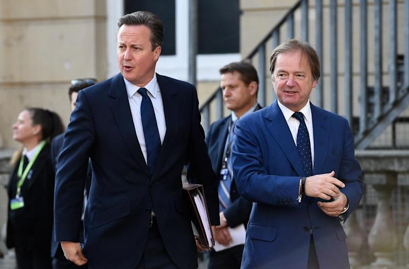 Prime minister David Cameron with fellow old Etonian Hugo Swire when Swire was a foreign office minister, 2016
