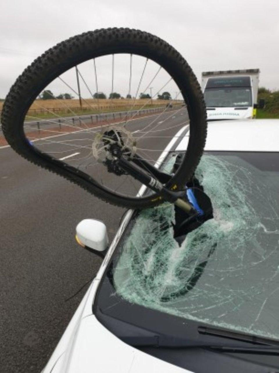 The bicycle struck the windscreen (Police Scotland/PA)