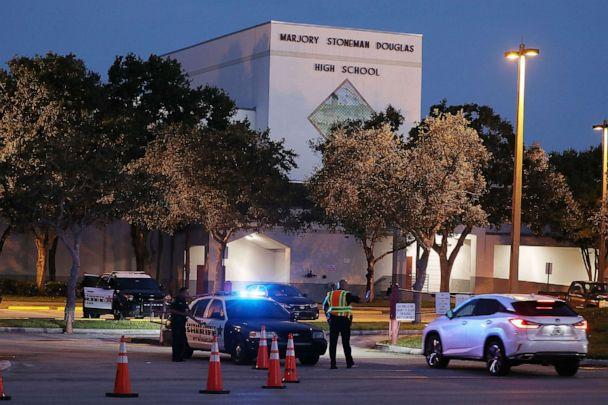 PHOTO: Police keep the campus secure as students arrive at Marjory Stoneman Douglas High School on the first day of school on Aug. 15, 2018, in Parkland, Fla. (Joe Raedle/Getty Images)