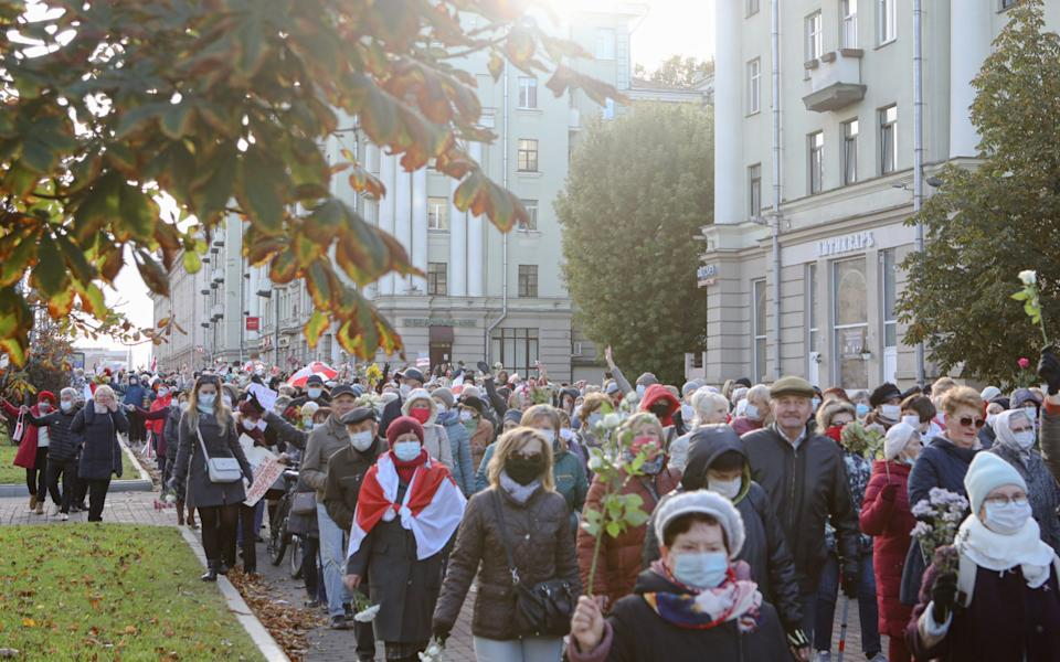 Opposition protests in Belarus have become a way of life, with women marching every Saturday, old age pensioners rallying on Mondays and tens of thousands gathering in cities across the country on Sundays - Maxim Sarychau/The Telegraph