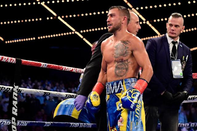 Vasiliy Lomachenko (pictured December 2017) will return to the ring for the first time since undergoing surgery for a torn labrum in his right shoulder (AFP Photo/Steven Ryan)