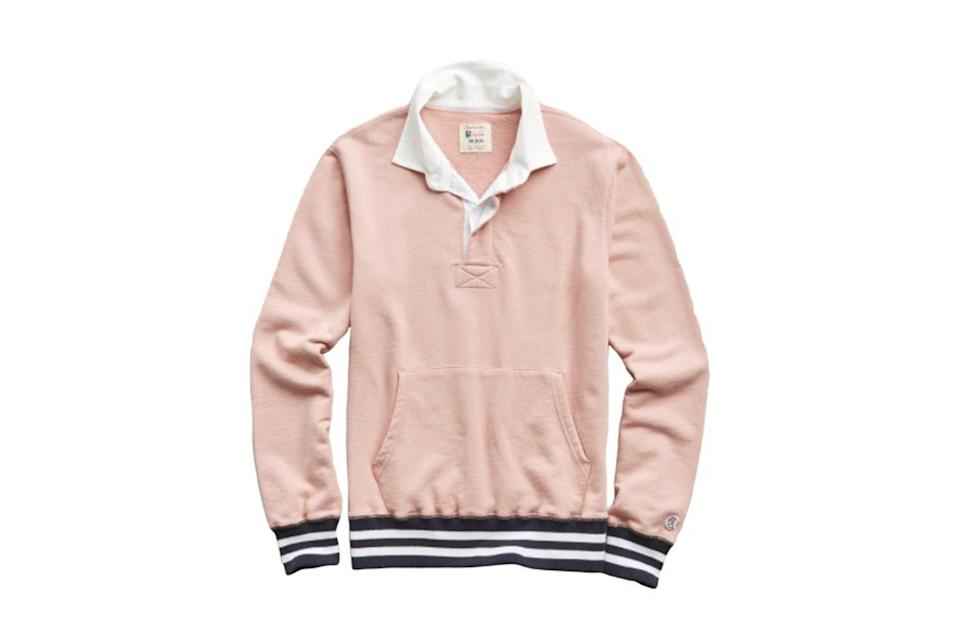 "$148, Todd Snyder. <a href=""https://www.toddsnyder.com/collections/sale/products/rugby-sweatshirt-desert-rose"" rel=""nofollow noopener"" target=""_blank"" data-ylk=""slk:Get it now!"" class=""link rapid-noclick-resp"">Get it now!</a>"