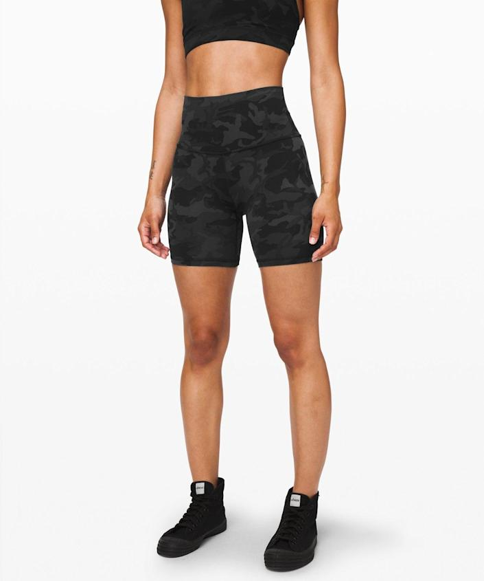 """<h3>Lululemon Align Bike Shorts<br></h3> <br>How can we talk about bike accessories without talking about bike shorts? What was once a niche aerobics garment somehow daily attire for stylish women everywhere — and that was <em>before</em> a global state of quarantine made it even more acceptable to spend days on end in spandex. <br><br>Anyway, you definitely need a pair of bike shorts, and we swear by this <a href=""""https://www.refinery29.com/en-us/2020/05/9821974/lululemon-biker-shorts-review"""" rel=""""nofollow noopener"""" target=""""_blank"""" data-ylk=""""slk:Shopping team-vetted Lululemon pair"""" class=""""link rapid-noclick-resp"""">Shopping team-vetted Lululemon pair</a>.<br><br><strong>lululemon</strong> Align Short 6"""", $, available at <a href=""""https://go.skimresources.com/?id=30283X879131&url=https%3A%2F%2Fwww.lululemon.co.uk%2Fen-gb%2Fp%2Falign-short-6%2522%2Fprod8351150.html%3Fdwvar_prod8351150_color%3D34135"""" rel=""""nofollow noopener"""" target=""""_blank"""" data-ylk=""""slk:lululemon"""" class=""""link rapid-noclick-resp"""">lululemon</a><br><br><br>"""