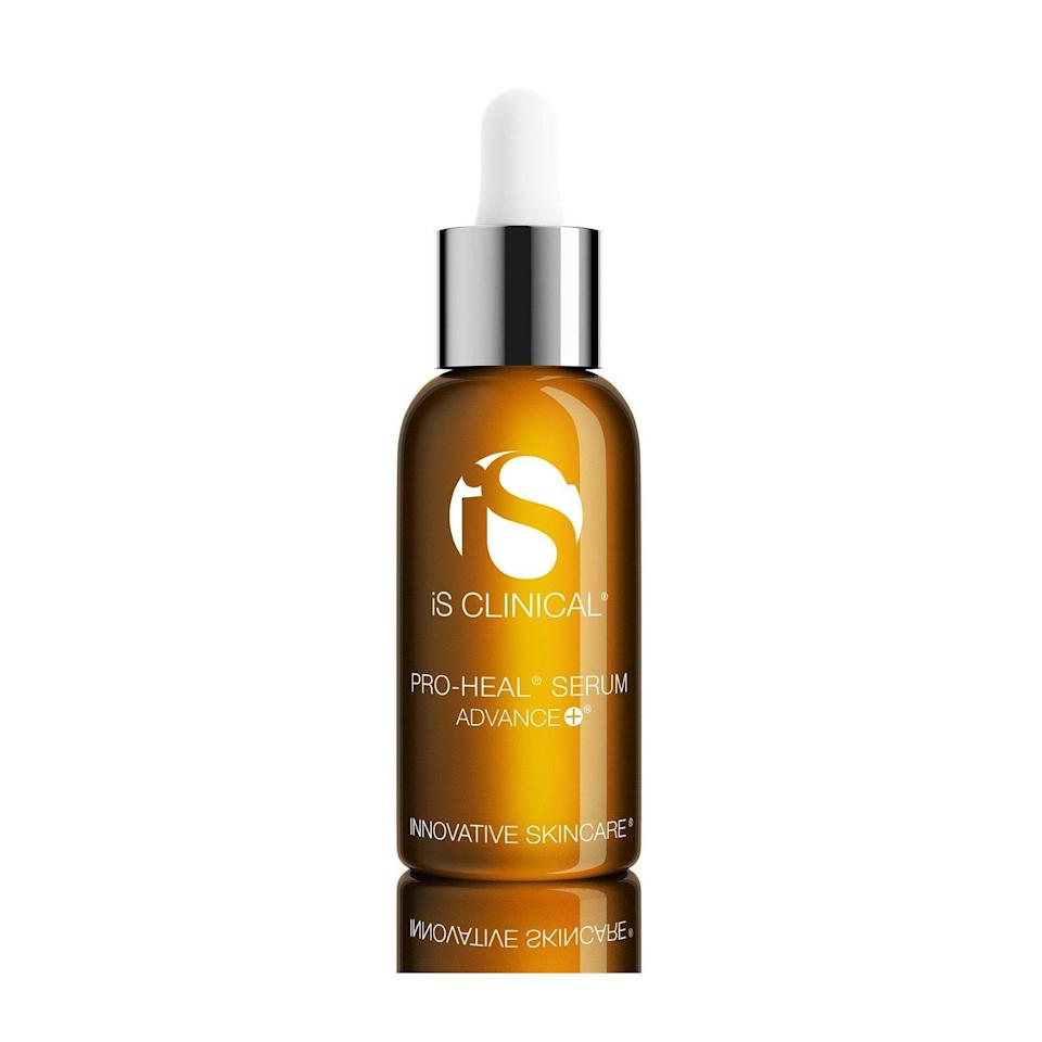 """<p>The potent IS Clinical Pro-Heal Serum Advance+ uses a blend of restorative, antioxidant ingredients to promote skin healing, which is what acne scars need. Ascorbic acid (<a href=""""https://www.allure.com/gallery/get-brighter-skin-vitamin-c?mbid=synd_yahoo_rss"""" rel=""""nofollow noopener"""" target=""""_blank"""" data-ylk=""""slk:vitamin C"""" class=""""link rapid-noclick-resp"""">vitamin C</a>) is a time-released acid that simultaneously stimulates collagen synthesis and promotes wound healing. Retinol works similarly in this formulation, while zinc sulfate is as an anti-inflammatory, and arbutin helps manage hyperpigmentation.</p> <p><strong>$155</strong> (<a href=""""https://shop-links.co/1624720451219378623"""" rel=""""nofollow noopener"""" target=""""_blank"""" data-ylk=""""slk:Shop Now"""" class=""""link rapid-noclick-resp"""">Shop Now</a>)</p>"""