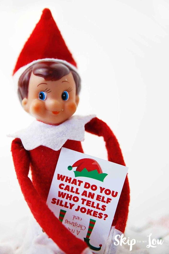 """<p>If there's one thing elves are really, really good at, it's telling jokes. These printable cards say things like, """"Why kind of photographs do elves like taking? Elfies!""""</p><p><strong>Get the tutorial at <a href=""""https://www.skiptomylou.org/elf-jokes/"""" rel=""""nofollow noopener"""" target=""""_blank"""" data-ylk=""""slk:Skip to My Lou"""" class=""""link rapid-noclick-resp"""">Skip to My Lou</a>.</strong> </p>"""