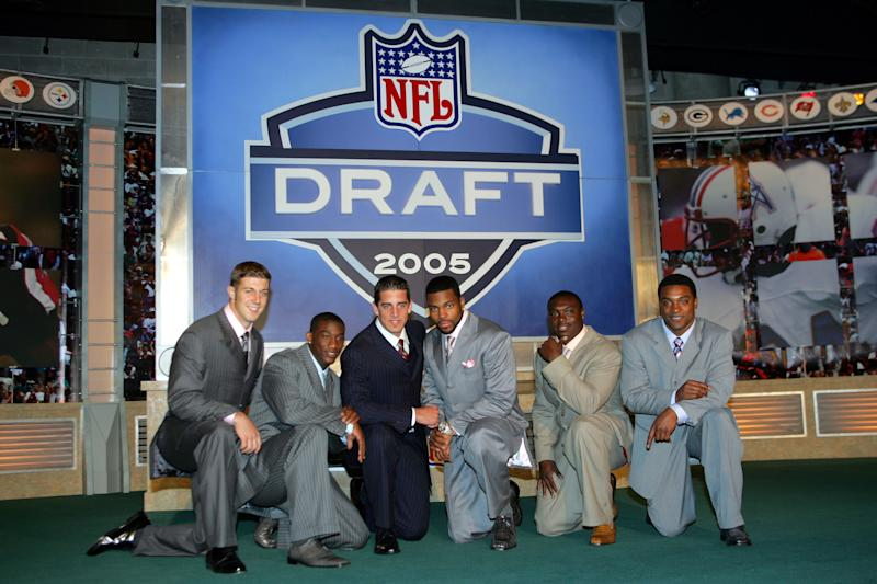 The 2005 NFL draft class, from left: Alex Smith (Utah), Antrel Rolle (Miami), Aaron Rodgers (California), Braylon Edwards (Michigan), Ronnie Brown (Auburn) and Cedric Benson (Texas). (Photo by Chris Trotman/Getty Images)