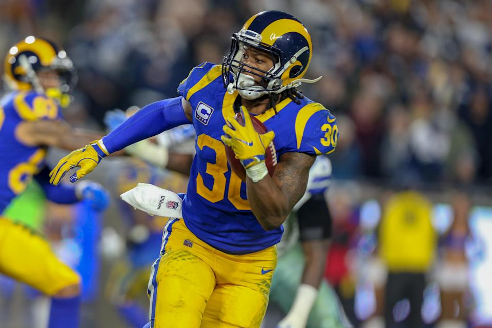 Los Angeles Rams running back Todd Gurley returned on Saturday following a knee injury and ran for 115 yards. (Getty Images)