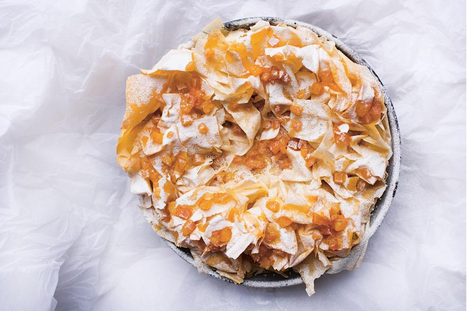 "Somewhere underneath all that frilly, crispy phyllo dough and candied citrus lies a rich-but-light ricotta cheesecake studded with golden raisins and scented with orange zest and cinnamon. <a href=""https://www.epicurious.com/recipes/food/views/ricotta-filo-phyllo-cheesecake?mbid=synd_yahoo_rss"" rel=""nofollow noopener"" target=""_blank"" data-ylk=""slk:See recipe."" class=""link rapid-noclick-resp"">See recipe.</a>"