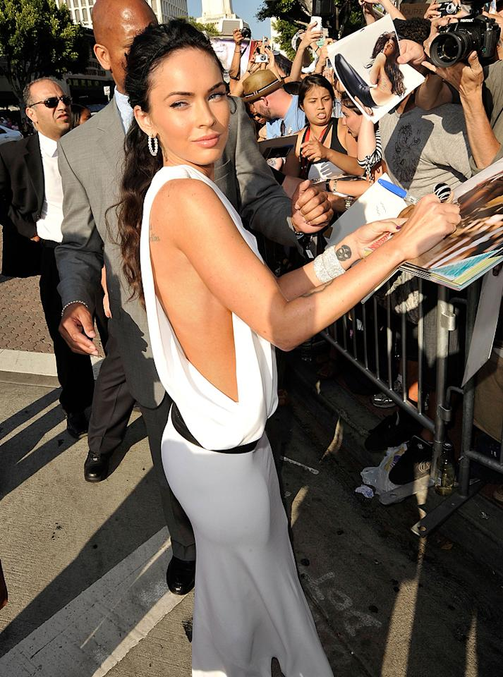 """<a href=""""http://movies.yahoo.com/movie/contributor/1808488000"""">Megan Fox</a> at the Los Angeles premiere of <a href=""""http://movies.yahoo.com/movie/1809943432/info"""">Transformers: Revenge of the Fallen</a> - 06/22/2009"""