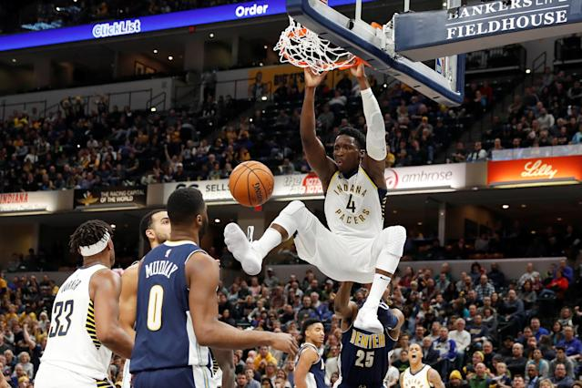 FILE PHOTO: Dec 10, 2017; Indianapolis, IN, USA; Indiana Pacers guard Victor Oladipo (4) dunks against the Denver Nuggets during the 3rd quarter at Bankers Life Fieldhouse. Mandatory Credit: Brian Spurlock-USA TODAY Sports/File Photo