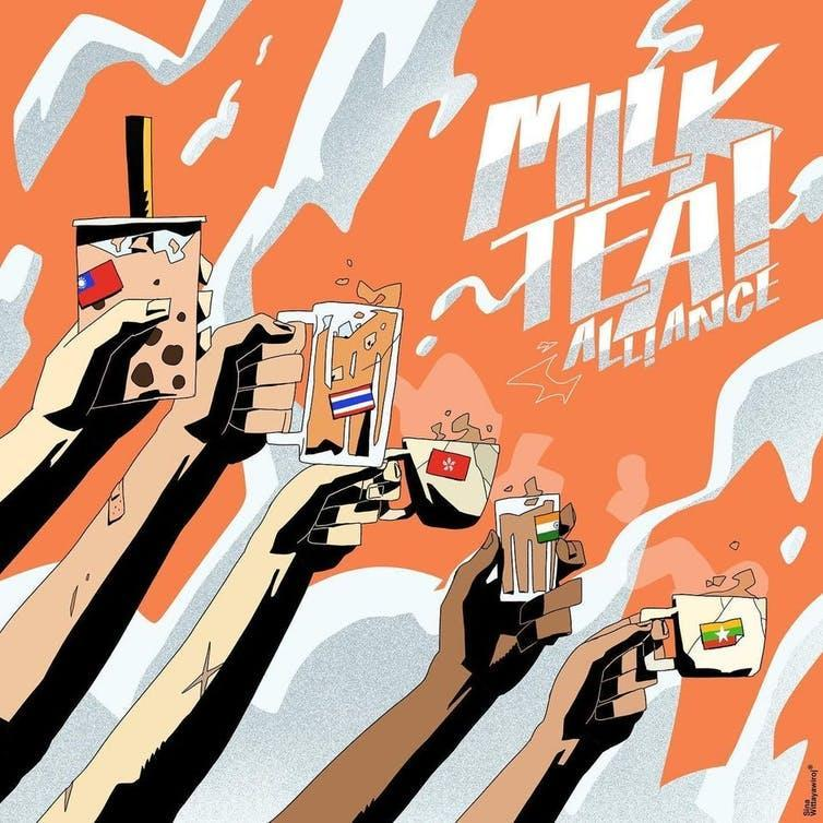 Graphic posters depicting arms aloft with cups of milky tea, symbolising dissent across south-east Asia.