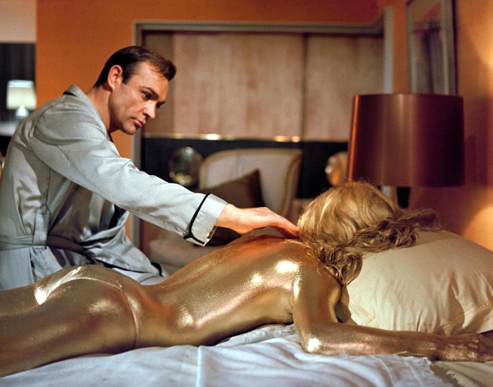 """<a href=""""http://movies.yahoo.com/movie/goldfinger/"""" data-ylk=""""slk:GOLDFINGER"""" class=""""link rapid-noclick-resp"""">GOLDFINGER</a> (1964) <br>Directed by: <span>Guy Hamilton</span> <br>Starring: <span>Sean Connery</span> and <span>Honor Blackman</span>"""