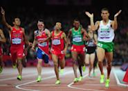 LONDON, ENGLAND - AUGUST 07: Taoufik Makhloufi of Algeria wins the gold in the Men's 1500m Final on Day 11 of the London 2012 Olympic Games at Olympic Stadium on August 7, 2012 in London, England. (Photo by Stu Forster/Getty Images)