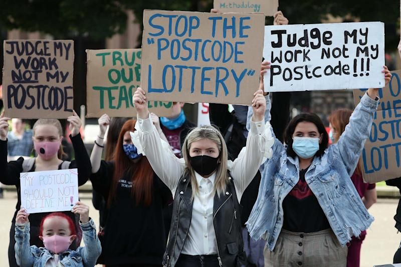 Postcode lottery: students protesting in Glasgow over the grades they were awarded (PA)