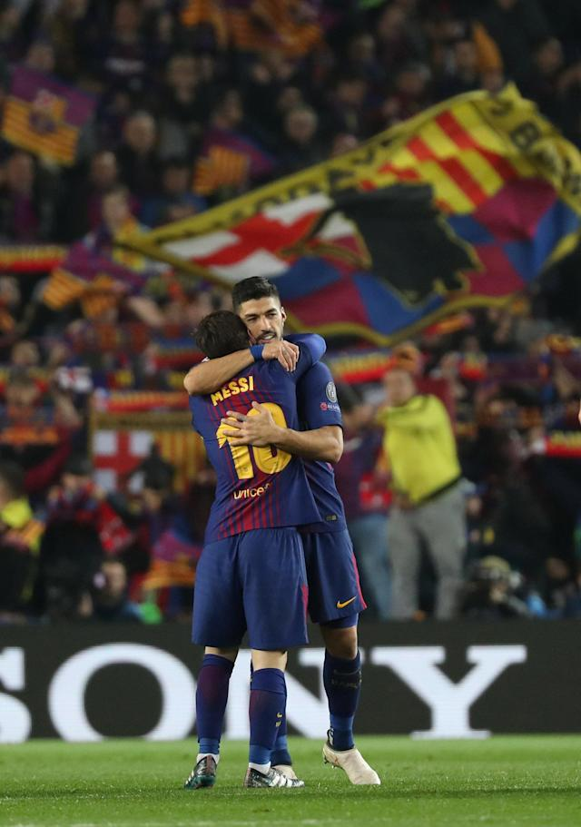 Soccer Football - Champions League Round of 16 Second Leg - FC Barcelona vs Chelsea - Camp Nou, Barcelona, Spain - March 14, 2018 Barcelona's Luis Suarez and Lionel Messi celebrate after the match REUTERS/Susana Vera