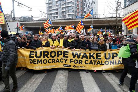 Ousted Catalan leader Carles Puigdemont takes part in a pro-independence rally for Catalonia, in Brussels