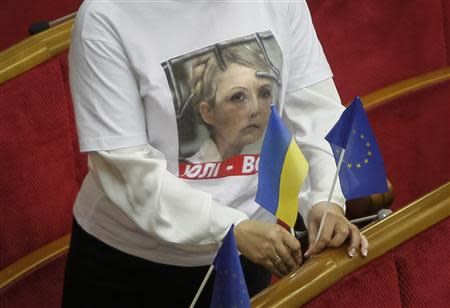 An opposition deputy wear a t-shirt in support of imprisoned former Ukrainian PM Tymoshenko before a session of Parliament in Kiev