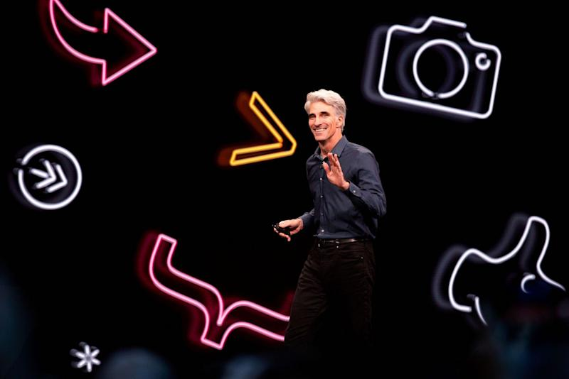 Apple's senior vice president of Software Engineering Craig Federighi speaks during Apple's Worldwide Developer Conference: BRITTANY HOSEA-SMALL/AFP/Getty Images