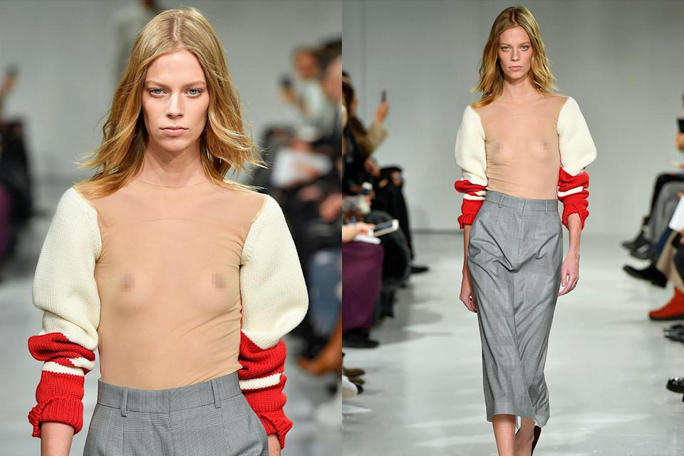 Behold, the Calvin Klein Varsity Sleeve Stocking Top, which can be yours for $1,150. (Photo: Getty Images)