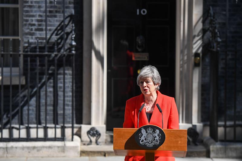 Theresa May, U.K. prime minister, delivers a speech announcing her resignation outside number 10 Downing Street in London, U.K., on Friday, May 24, 2019. May said she will step down on June 7. Photographer: Chris J. Ratcliffe/Bloomberg via Getty Images