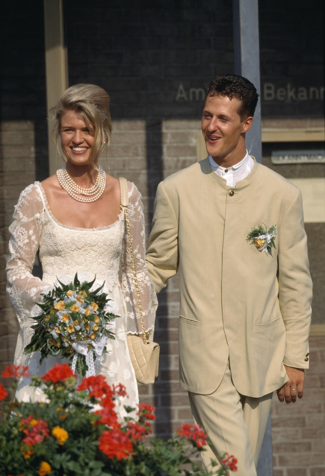 German Formula One driver Michael Schumacher spouses Corinna Betsch in Kerpen.  (Photo by Charles Caratini/Sygma via Getty Images)